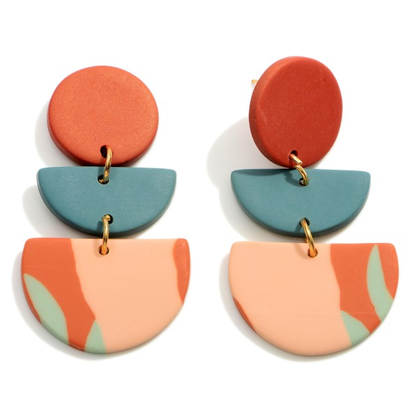 """Multicolor Polymer Clay Drop Earrings.  - Approximately 2"""" in Length"""