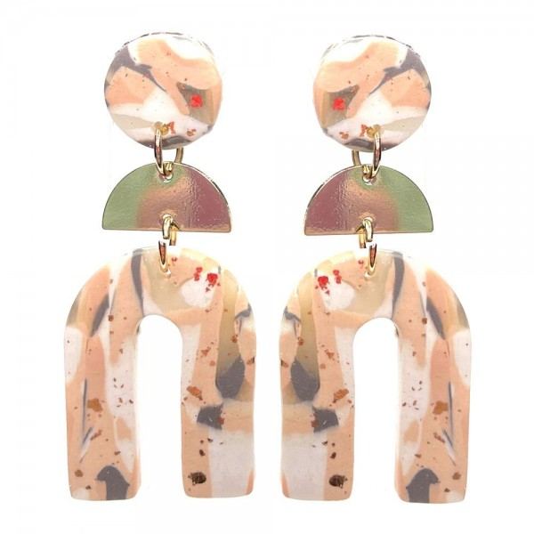 """Clay Polymer Rainbow Drop Earrings Featuring Abstract Print and Gold Accents.  - Approximately 2.25"""" in Length"""