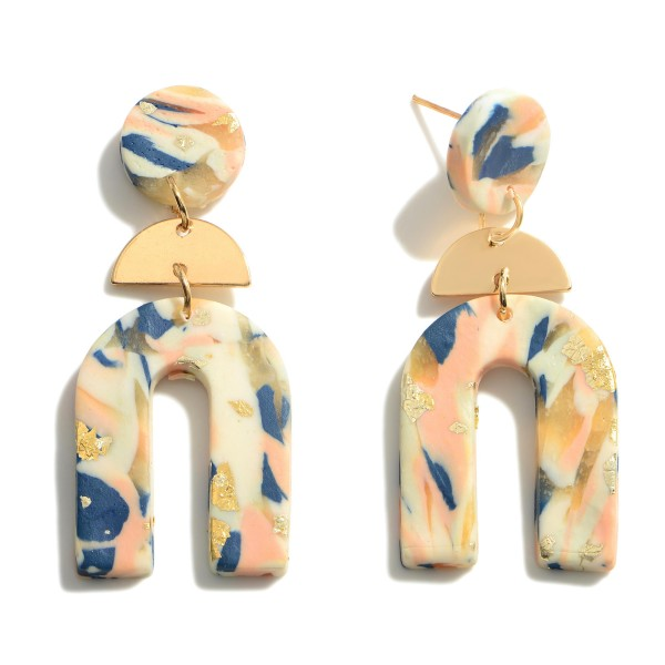 """Geometric Shaped Clay Polymer Earrings Featuring Gold Accents.   - Approximately 2.25"""" Long"""