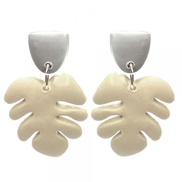 """Clay Polymer Leaf Earrings.   - Approximately 1.5"""" Long"""