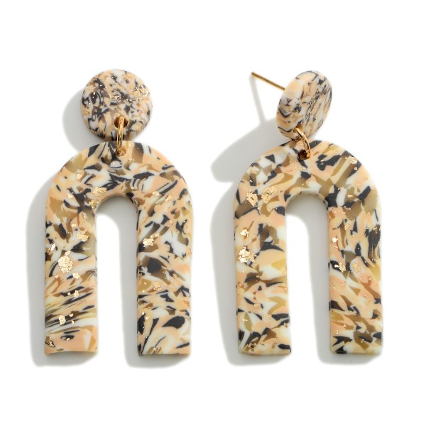 """Abstract Print Polymer Clay Rainbow Drop Earrings Featuring Gold Accents.   - Approximately 2"""" in Length"""