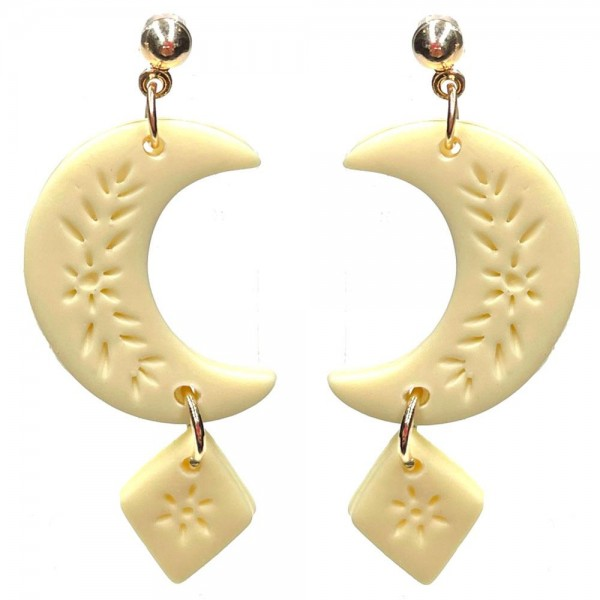 """Crescent Shaped Clay Polymer Earrings Featuring Engraved Details.   - Approximately 1.75"""" Long"""