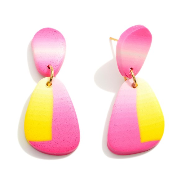 """Multicolor Polymer Clay Drop Earrings.  - Approximately 1.5"""" in Length"""