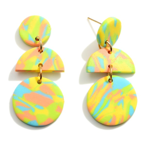 """Geometric Clay Polymer Drop Earrings.  - Approximately 2"""" in Length"""