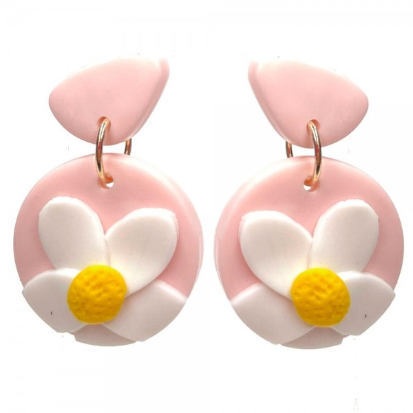 """Clay Polymer Drop Earrings Featuring Floral Accents.   - Approximately 1.25"""" Long"""