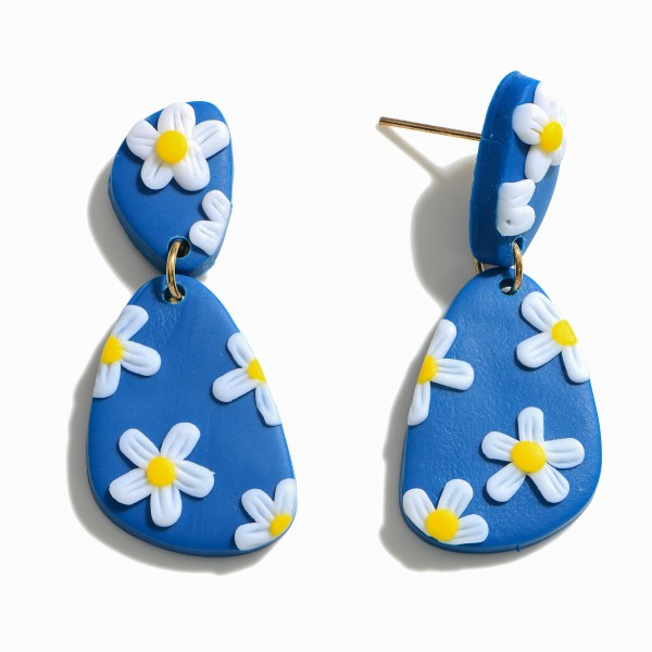 """Clay Polymer Flower Drop Earrings.  - Approximately 1.75"""" in Length"""