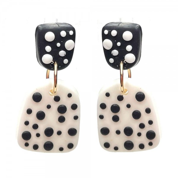 """Clay Polymer Drop Earrings Featuring Polka Dot Accents.   - Approximately 1.25"""" Long"""