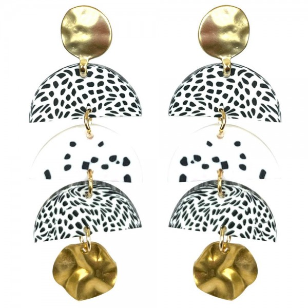 """Clay Polymer Drop Earrings Featuring Gold Metal Details.  - Approximately 2"""" Long"""