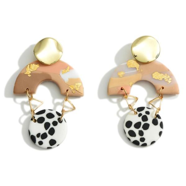 Wholesale clay Polymer Drop Earrings Gold Metal Details Long