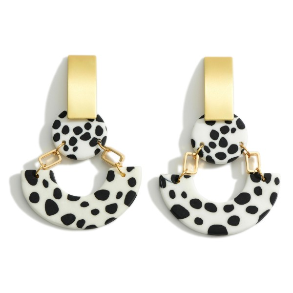 """Clay Polymer Drop Earrings Featuring Gold Metal Details.  - Approximately 2.75"""" Long"""