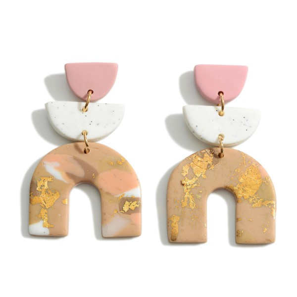 """Polymer Clay Drop Earrings Featuring Gold Accents.  - Approximately 2.5"""" in Length"""