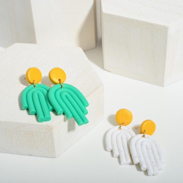 """Clay Polymer Rainbow Drop Earrings.  - Approximately 2"""" in Length"""