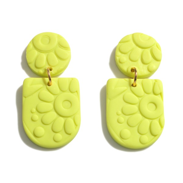 """Clay Polymer Flower Drop Earrings.  - Approximately 1.5"""" in Length"""