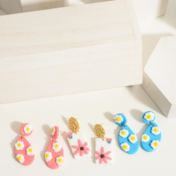 """Polymer Clay Drop Earrings Featuring Flower Accents.  - Approximately 2"""" in Length"""