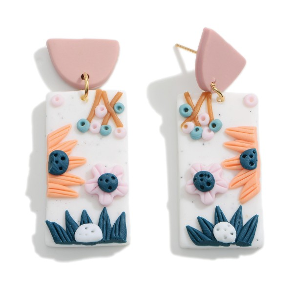 """Polymer Clay Drop Earrings Featuring Floral Accents.  - Approximately 2"""" in Length"""