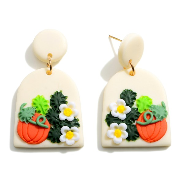 """Multicolor Polymer Clay Drop Earrings Featuring Pumpkin Accents.  - Approximately 1.5"""" in Length"""
