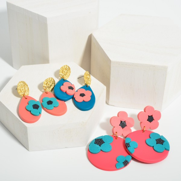 """Polymer Clay Drop Earrings Featuring Flower Accents.  - Approximately 2.25"""" in Length"""