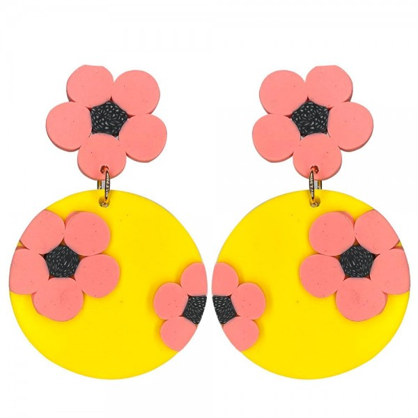"""Clay Polymer Flower Drop Earrings.  - Approximately 2.75"""" in Length"""