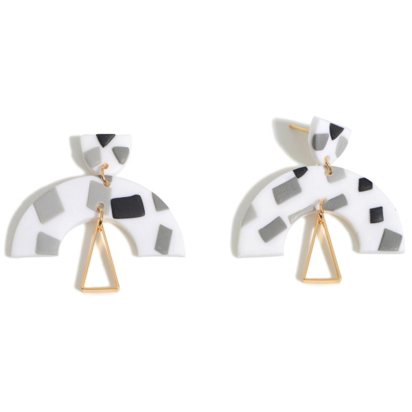 Wholesale clay Polymer Geometric Drop Earrings Gold Accent