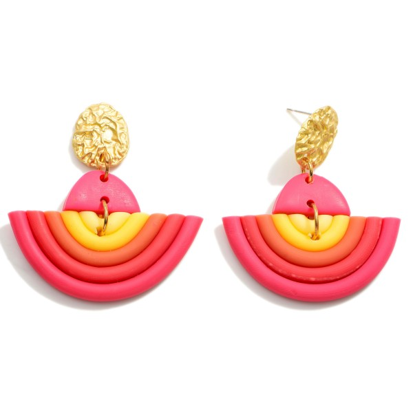 """Clay Polymer Rainbow Drop Earrings.  - Approximately 1.75"""" in Length"""
