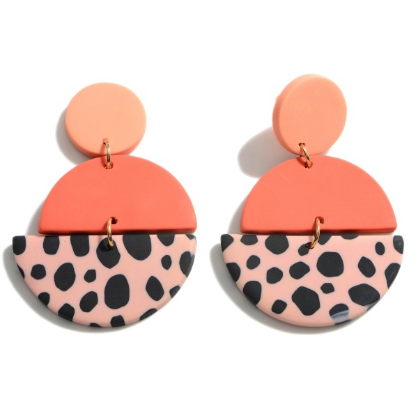 Wholesale clay Polymer Geometric Drop Earrings Animal Print Pattern