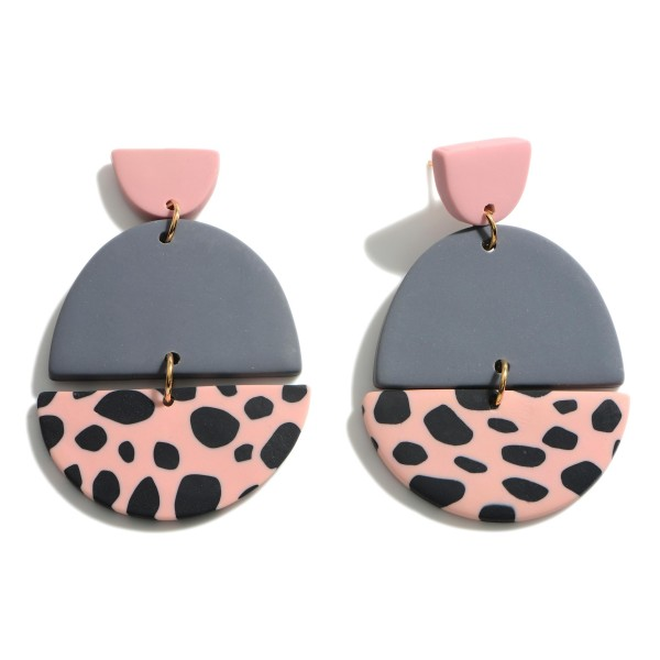 """Clay Polymer Geometric Drop Earrings Featuring Animal Print Pattern.  - Approximately 2.75"""" in Length"""