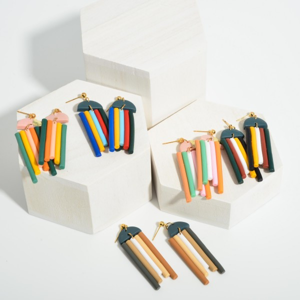 """Clay Polymer Rainbow Drop Earrings.  - Approximately 2.5"""" in Length"""