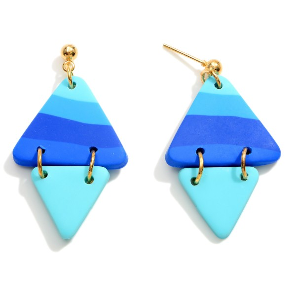"""Diamond Shaped Polymer Clay Drop Earrings.  - Approximately 1.75"""" in Length"""