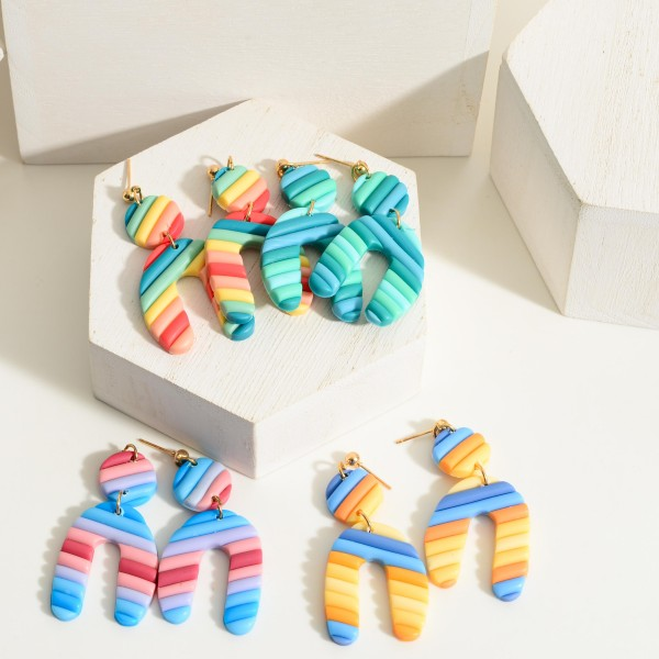 """Multicolor Polymer Clay Drop Earrings.  - Approximately 2.25"""" in Length"""