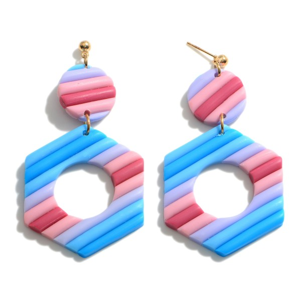 """Clay Polymer Hexagonal Drop Earrings.  - Approximately 2.75"""" in Length"""