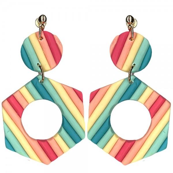 Wholesale clay Polymer Hexagonal Drop Earrings