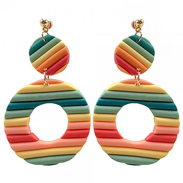 """Clay Polymer Circular Drop Earrings.  - Approximately 2.75"""" in Length"""