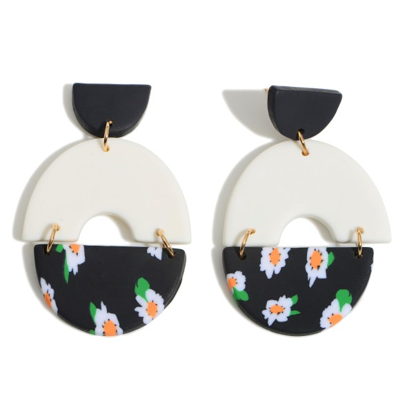 """Clay Polymer Drop Earrings Featuring Flower Accents.  - Approximately 2.5"""" in Length"""