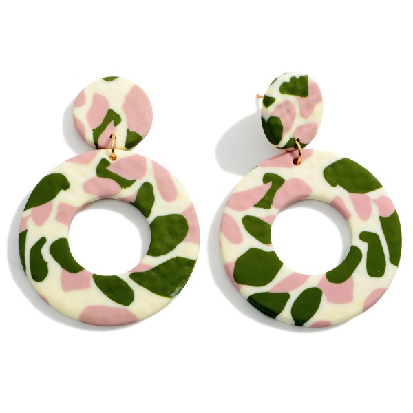 """Polymer Clay Circular Drop Earrings Featuring an Abstract Print.  - Approximately 2.75"""" in Length"""