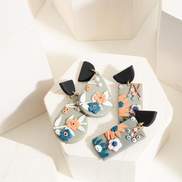 """Polymer Clay Drop Earrings Featuring Flower Accents.  - Approximately 2.5"""" in Length"""