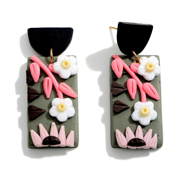 """Polymer Clay Drop Earrings Featuring Floral Accents.  - Approximately2"""" in Length"""