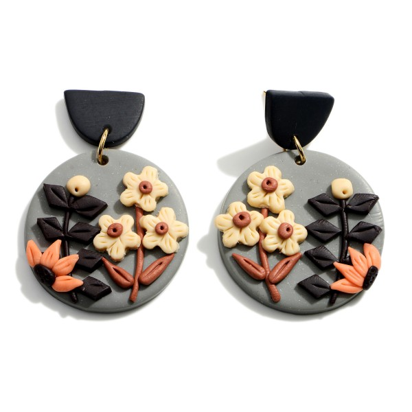 """Multicolor Polymer Clay Drop Earrings Featuring Flower Accents.  - Approximately 1.75"""" in Length"""