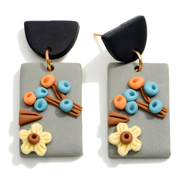 Wholesale rectangular Polymer Clay Drop Earrings Flower Accents