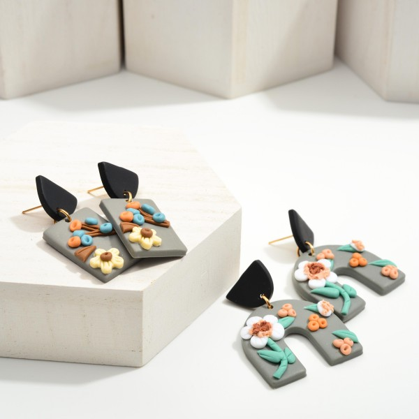 """Rectangular Polymer Clay Drop Earrings Featuring Flower Accents.  - Approximately 1.75"""" in Length"""