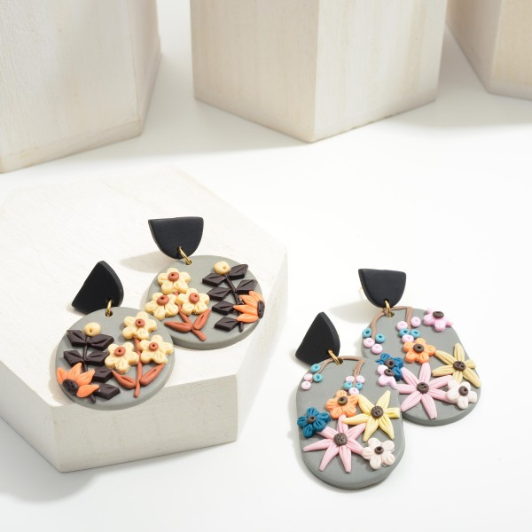 """Multicolor Polymer Clay Drop Earrings Featuring Flowers.  - Approximately 2"""" in Length"""