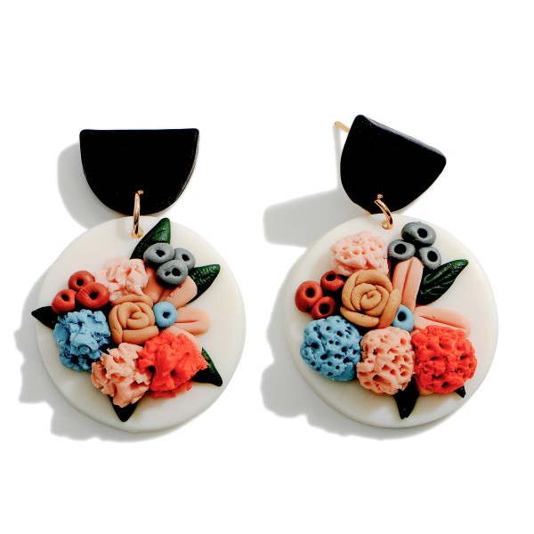 """Polymer Clay Drop Earrings Featuring Floral Accents.  - Approximately 1.75"""" in Length"""