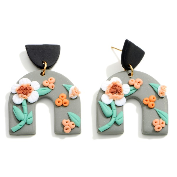 Wholesale rainbow Polymer Clay Drop Earrings Flower Accents