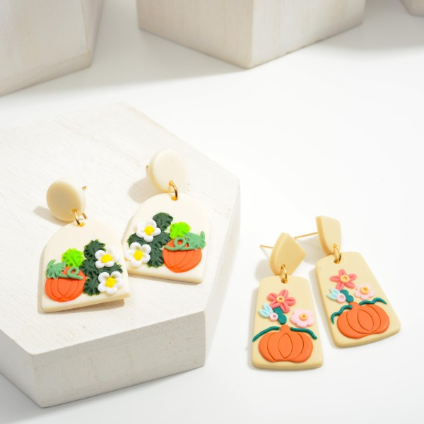 """Multicolor Polymer Clay Drop Earrings Featuring Pumpkins.  - Approximately 2"""" in Length"""