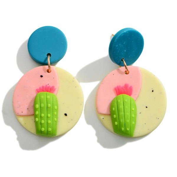 Wholesale multicolor Polymer Clay Drop Earrings Cactus Accents