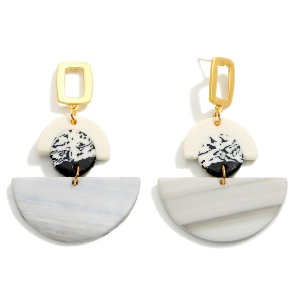 """Polymer Clay Drop Earrings Featuring Gold Acccents.  - Approximately 2.25"""" in Length"""