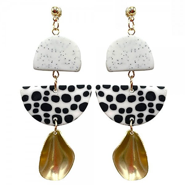 Wholesale black White Polymer Clay Earrings Gold Drop