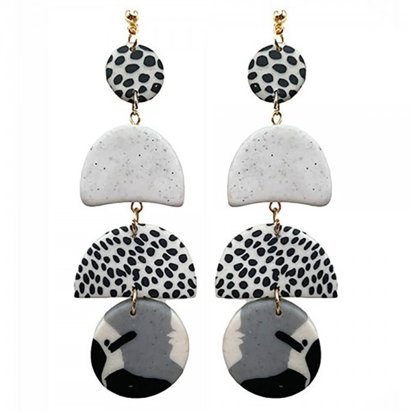 Wholesale modern Black White Polymer Clay Earrings Gold Accents
