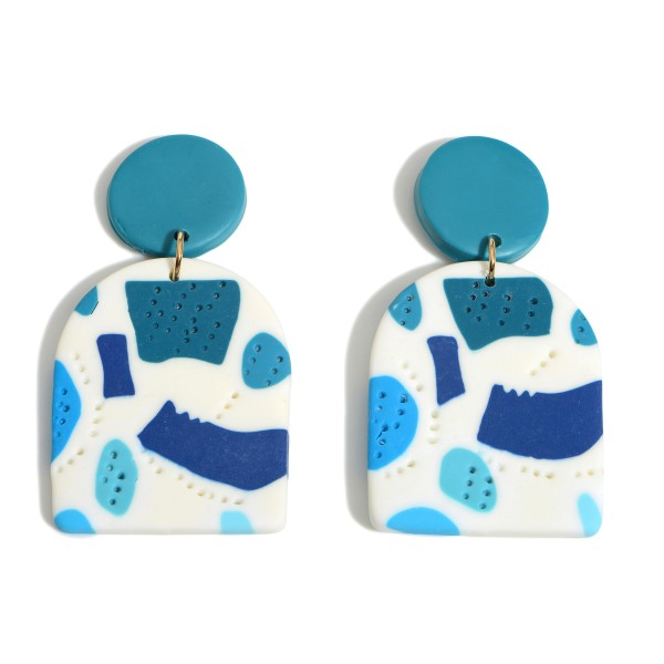 """Clay Polymer Drop Earrings Featuring Blue Abstract Pattern.  - Approximately 2.5"""" in Length"""
