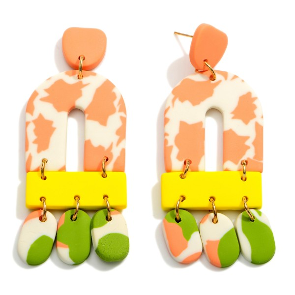 Wholesale multicolor Rainbow Polymer Clay Drop Earrings