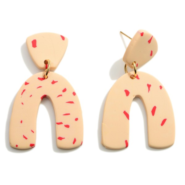 """Rainbow Clay Polymer Earrings Featuring Red Speckled Accents.  - Approximately 1.75"""" in Length"""